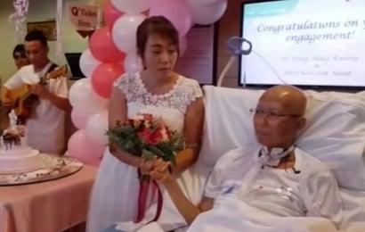 Ölümcül xəstə kişi sevgilisi ilə xəstəxanada nişanlandı