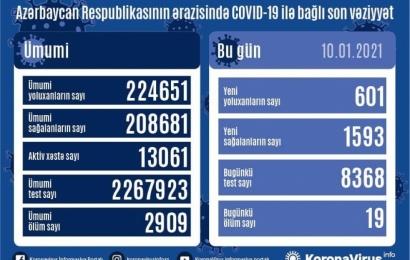 Koronavirus daha 19 can aldı: 601 yoluxma, 1593 sağalma