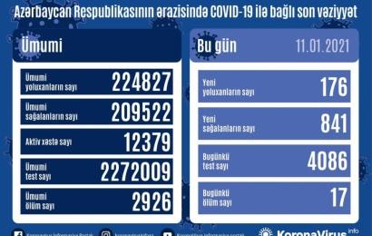 Koronavirus daha 17 can aldı: 176 yoluxma, 841 sağalma