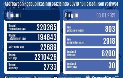 Koronavirus daha 30 can aldı: 803 yoluxma, 2918 sağalma